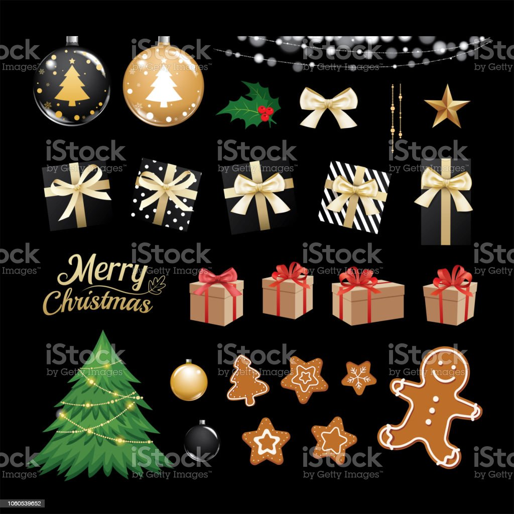 Christmas Objects Collection Set Gifts And Decorative Ornaments ...