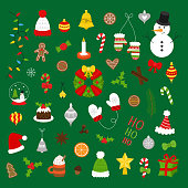 Christmas colorful vector illustration icon set. Cute xmas festive, holiday, seasonal collection of objects for web or print, isolated on green background.