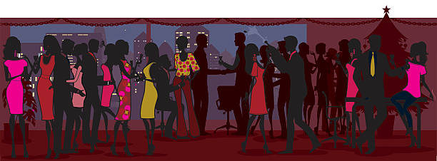 christmas office party - office party stock illustrations, clip art, cartoons, & icons