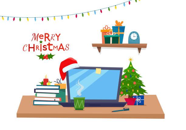 weihnachten-bürotisch mit verziert. - firmenweihnachtsfeier stock-grafiken, -clipart, -cartoons und -symbole
