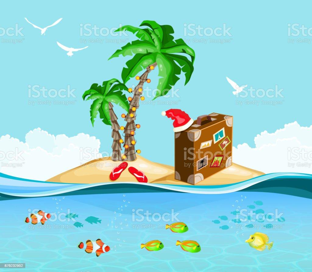 Christmas on a tropical island, travel concept vector art illustration