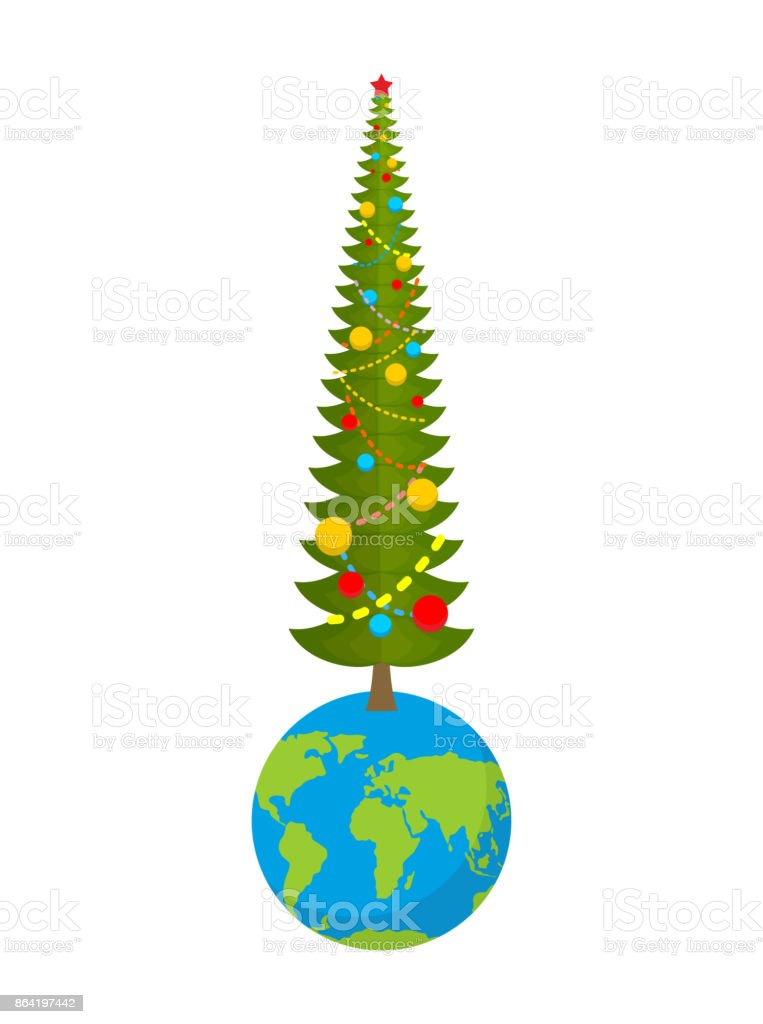 Christmas on Earth. New year on planet. big Christmas tree. huge spruce. Large fir. Xmas Vector Illustration royalty-free christmas on earth new year on planet big christmas tree huge spruce large fir xmas vector illustration stock vector art & more images of abstract