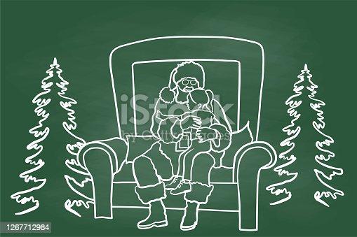 istock Christmas On Santa's Knees Chalkboard Green 1267712984