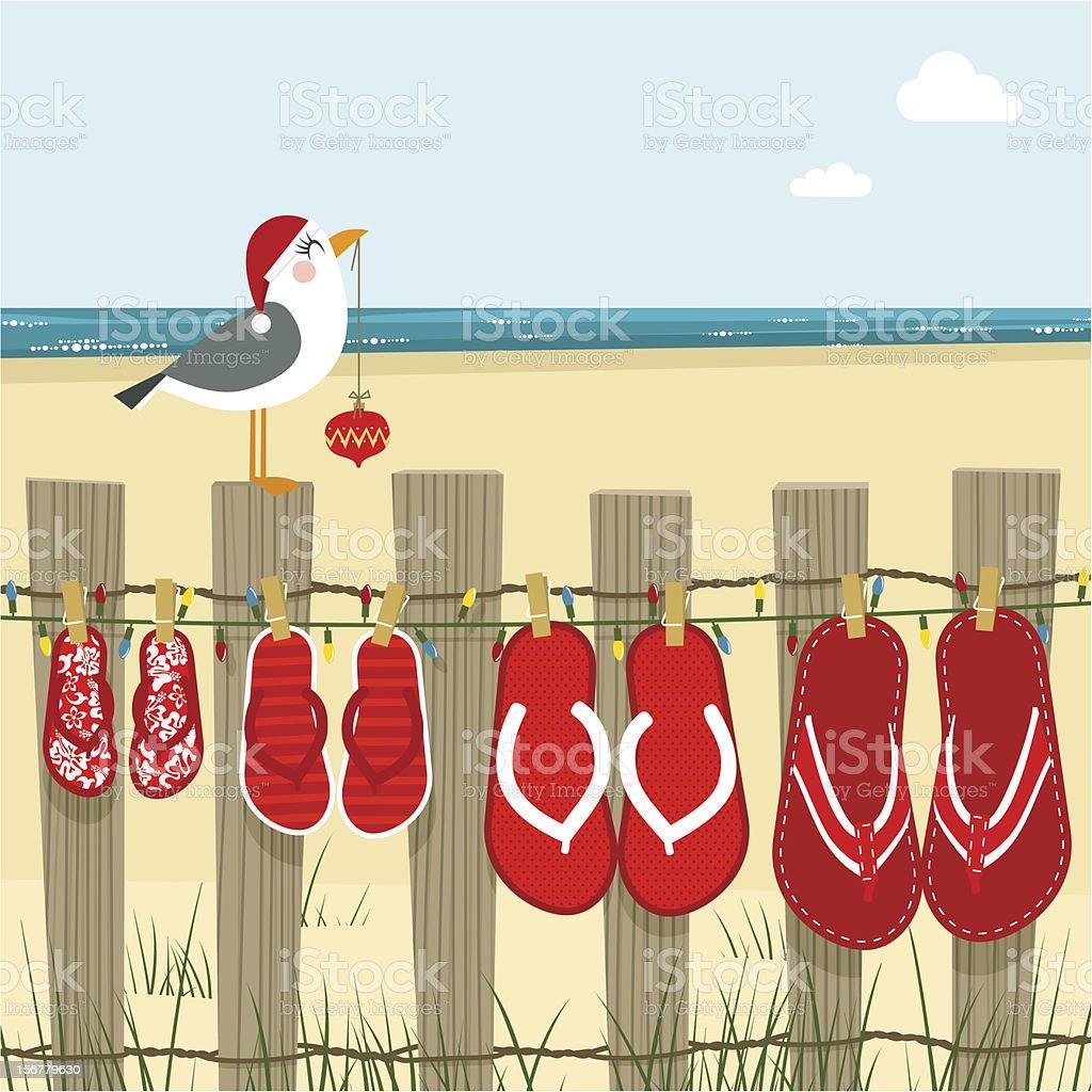 christmas on the beach sea illustration vector