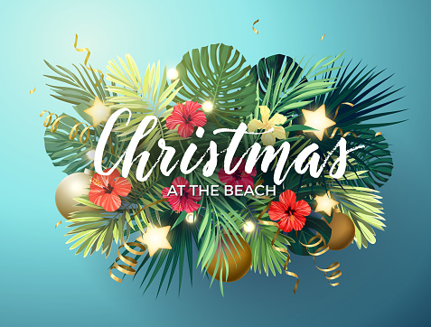 Christmas on the summer beach design with monstera palm leaves, hibiscus flowers, xmas balls and gold glowing stars, vector illustration