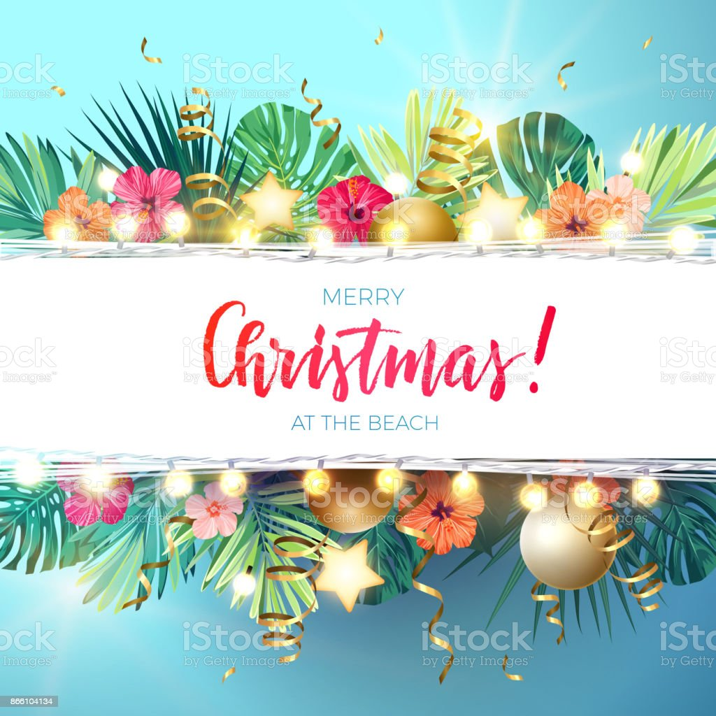 Christmas on the summer beach design with monstera palm leaves, hibiscus flowers, xmas balls and gold glowing stars, vector illustration vector art illustration