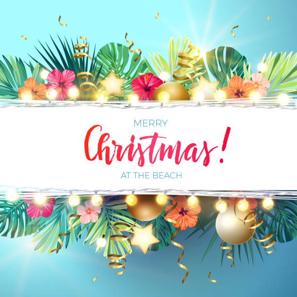 Hawaii Christmas.Best Hawaii Christmas Illustrations Royalty Free Vector