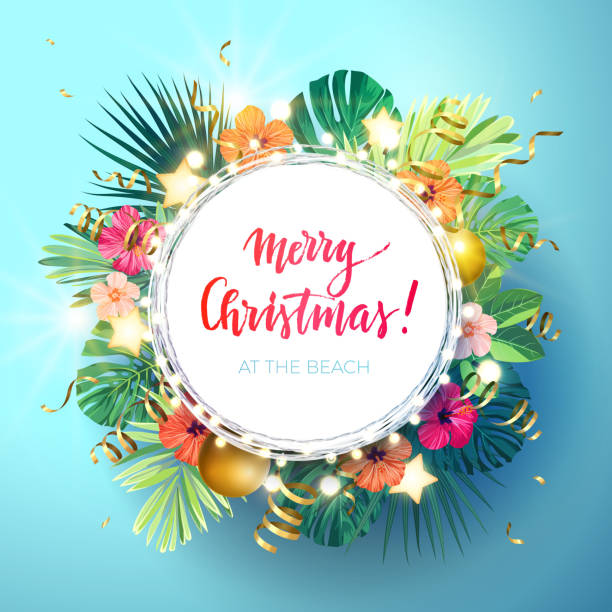 Hawaiian Merry Christmas.Best Hawaii Christmas Illustrations Royalty Free Vector