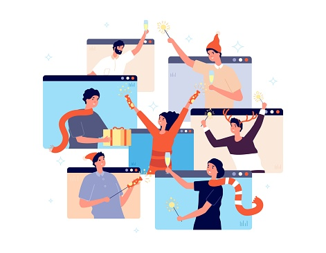 Christmas online party. People celebrating new year, happy friends on video chat. Man woman with champagne confetti gift vector illustration