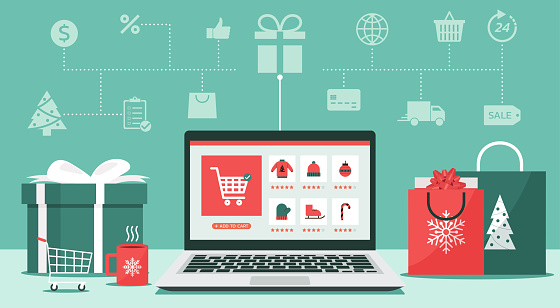 Christmas online shopping concept on laptop screen with icon