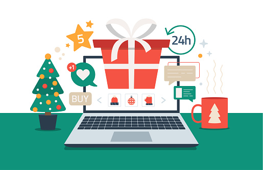 Christmas online shopping. Flat cartoon vector illustration with laptop screen with red gift box, spruce, cup on the desk, winter holidays sales. Christmas due coronavirus