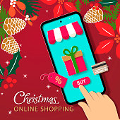 Buy Christmas gift, decoration and prop online on mobile app with credit card purchase discount on the red background of flowers and pine cone