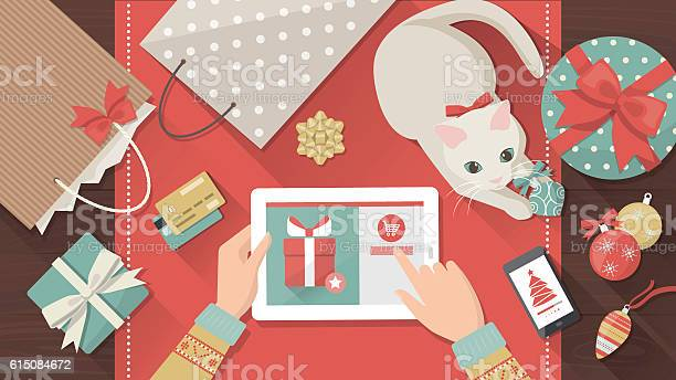 Christmas Online Shopping Stock Illustration - Download Image Now