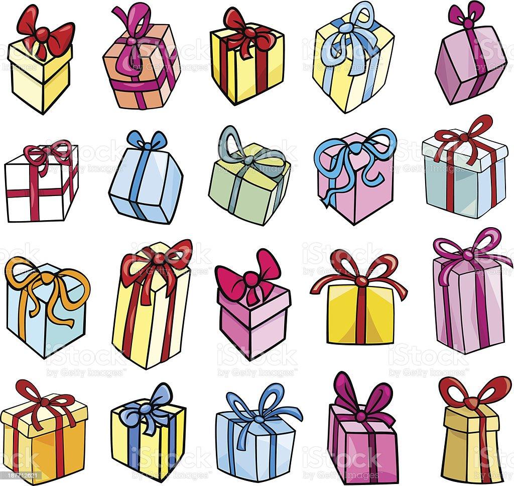 christmas or birthday gift clip art set royalty-free stock vector art
