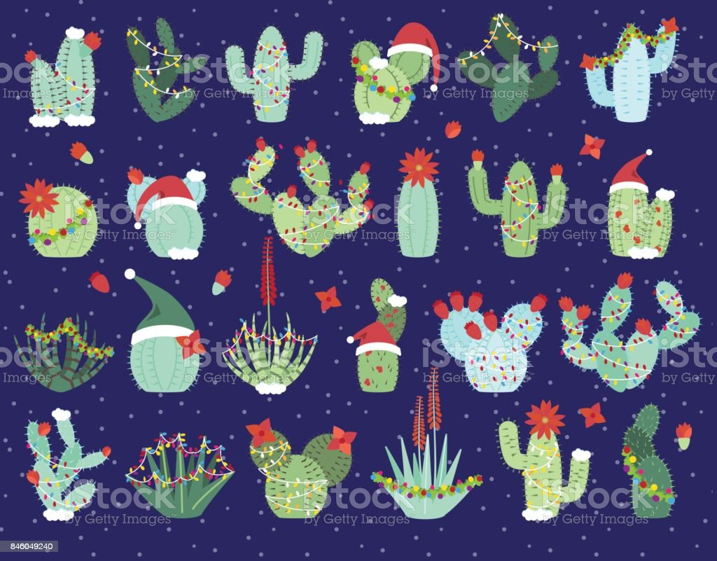 Christmas or Holiday Themed Cactus and Succulent Collection vector art illustration