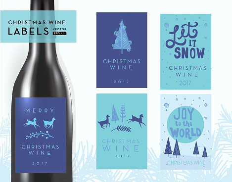 Christmas or holiday wine bottle label design templates