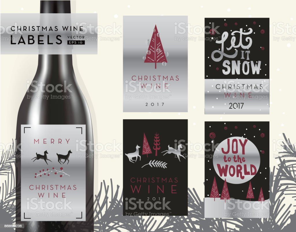 Christmas Or Holiday Wine Bottle Label Design Templates Royalty Free  Christmas Or Holiday Wine Bottle
