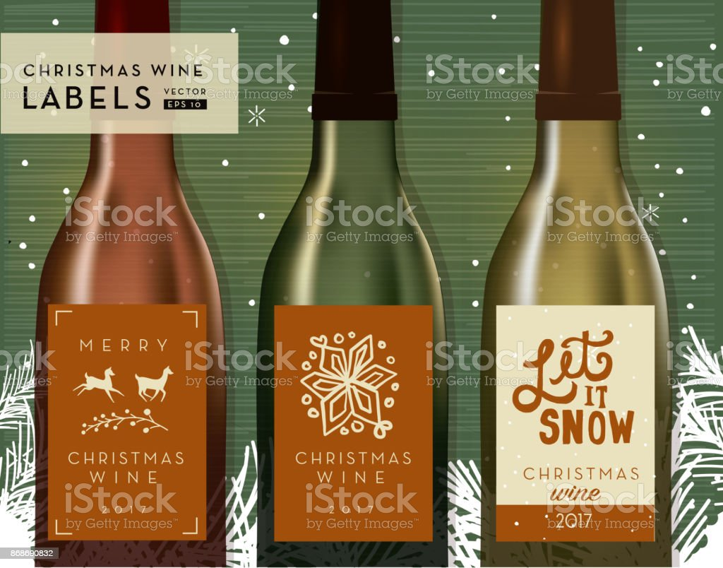 Christmas Or Holiday Wine Bottle Label Design Templates Stock Vector ...