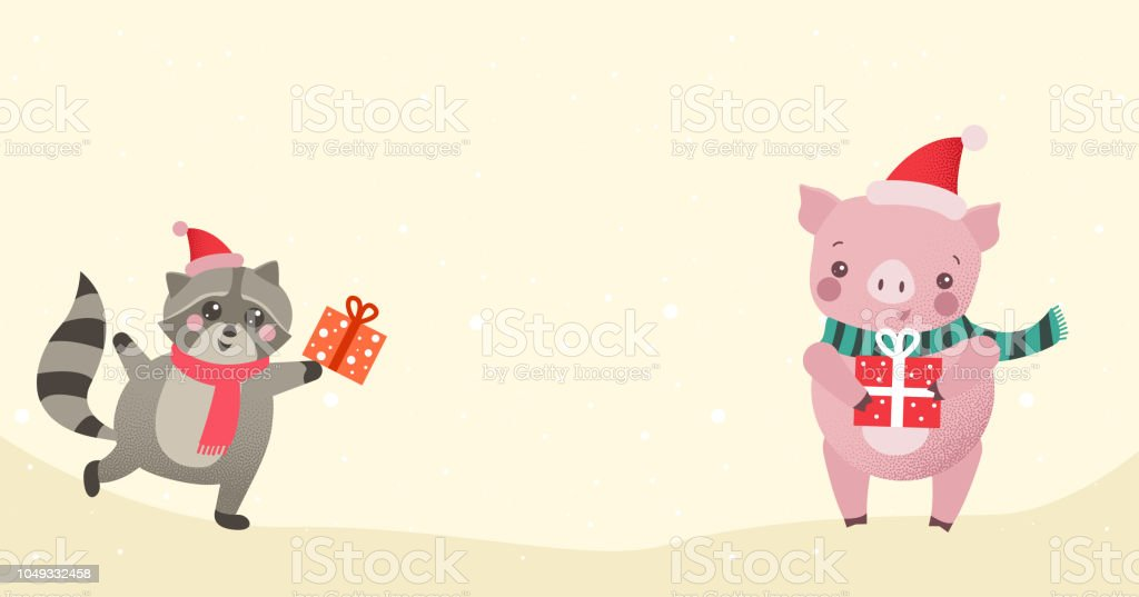 christmas or new year background with cute cartoon animals with gifts royalty free christmas
