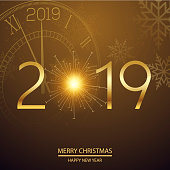 Christmas or New Year card with clock. Vector.