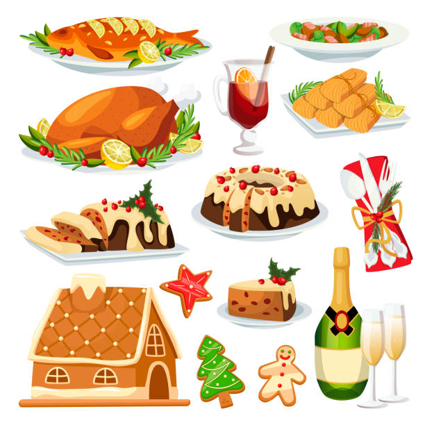 weihnachten oder neujahr menü design elemente. vektor flache cartoon-illustration. traditionelle sanienmahlzeit - lebkuchenhaus stock-grafiken, -clipart, -cartoons und -symbole