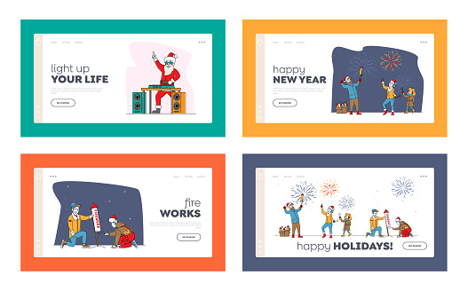 Christmas or New Year Holidays Fireworks and Santa Claus Show Landing Page Template Set. Happy Family Hold Sparklers