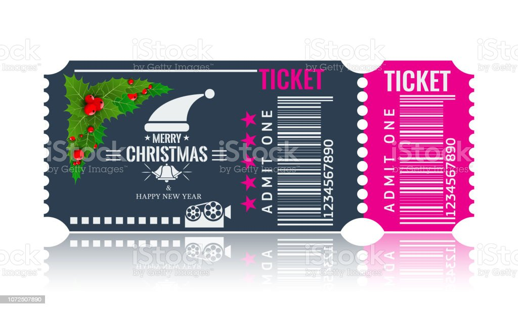 Christmas or New Year party ticket card design template. Vector Illustraton. Blue and pink color. - arte vettoriale royalty-free di Abete