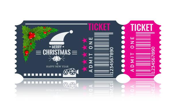 illustrazioni stock, clip art, cartoni animati e icone di tendenza di christmas or new year party ticket card design template. vector illustraton. blue and pink color. - christmas movie