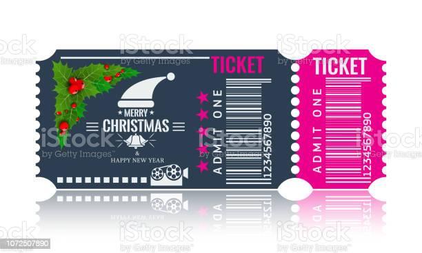 Christmas Or New Year Party Ticket Card Design Template Vector Illustraton Blue And Pink Color - Immagini vettoriali stock e altre immagini di Abete