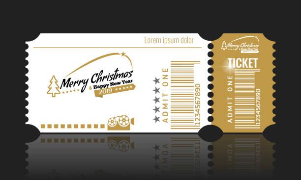 illustrazioni stock, clip art, cartoni animati e icone di tendenza di christmas or new year party ticket card design template. vector illustraton. white and golden color. - christmas movie