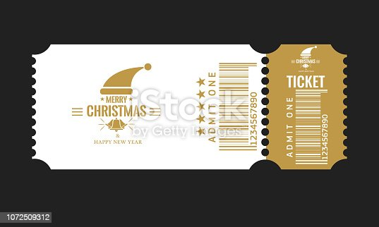 Christmas or New Year party ticket card design template. High detailed Vector Illustraton. White and golden color.