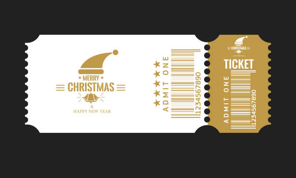 illustrazioni stock, clip art, cartoni animati e icone di tendenza di christmas or new year party ticket card design template. vector illustraton. white and golden color. - christmas movie