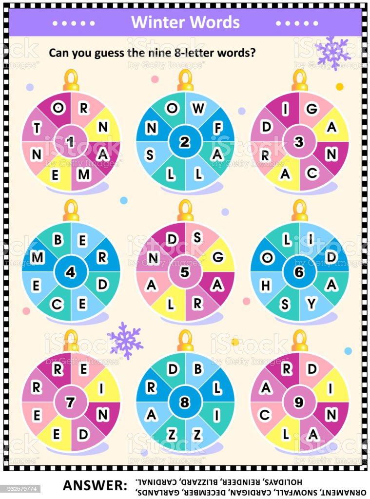Christmas Or New Year Word Game With Round Words On Ornaments Stock