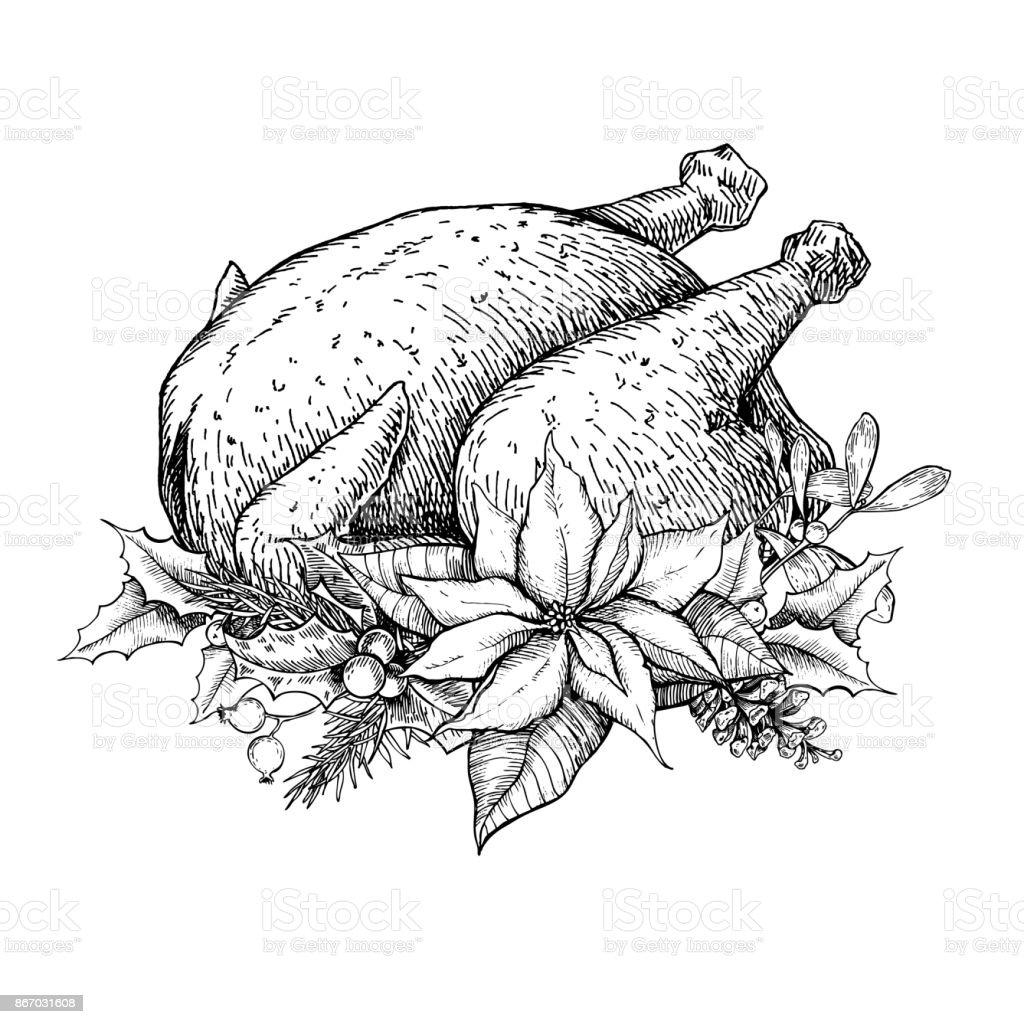 Christmas or thanksgiving turkey. Hand drawn vector illustration vector art illustration