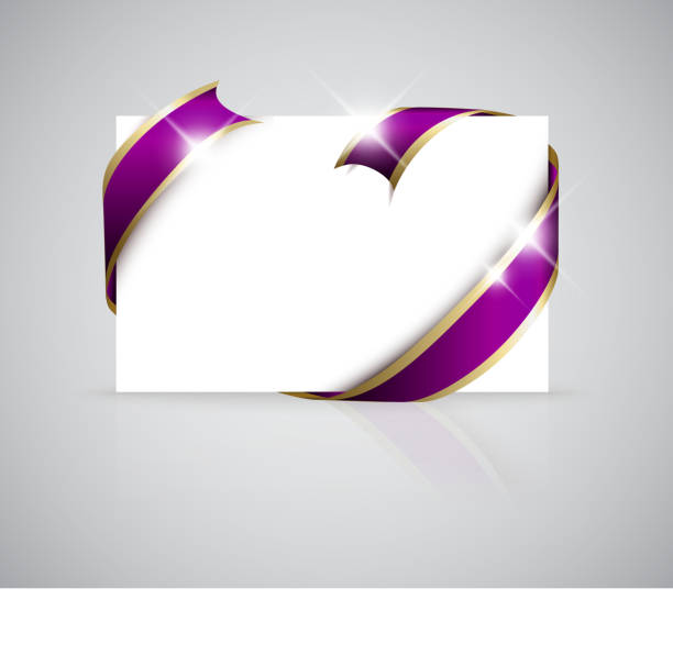 Purple And Gold Ribbon Frame Stock Images - Image: 32445224