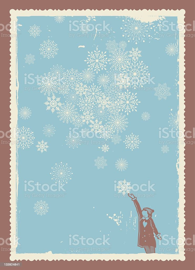 Christmas or winter theme blue snowflake background & figure vector art illustration