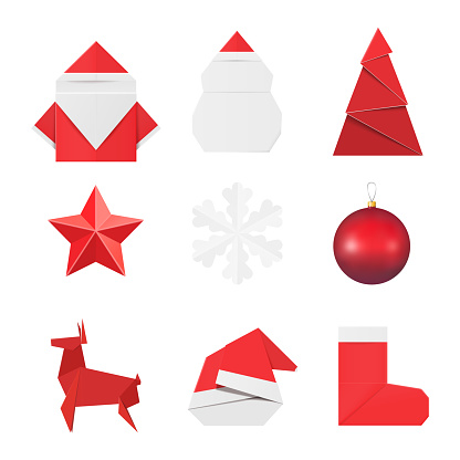 Christmas origami ornaments and decorations: paper Santa Claus and snowman, fir, star, snowflake, glass ball toy, deer red hat and sock.