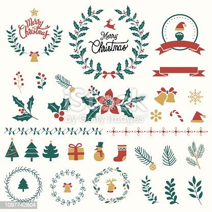 Illustration set of Christmas decorations