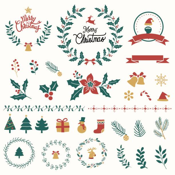 Christmas ornament art Illustration set of Christmas decorations christmas icons stock illustrations