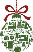 Vector illustration of Christmas ornament with sewing icons, including sewing machines, thimble, scissors, pin cushion, an iron and thread.