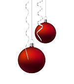 Vector Christmas Ornament Balls Hanging With Silver Ribbon