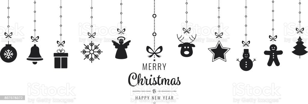 christmas ornament elements hanging black isolated background vector art illustration