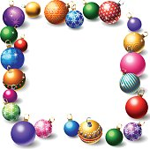 A group of colorful, sparkling Christmas tree ornaments, or baubles, make a frame for your text. Balls, shadows and sparkles on their own layers.