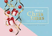 Christmas ornament hanging banner background .Celebration quotation for card.Vector illustration.