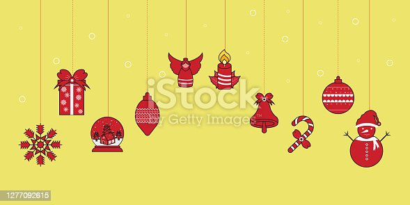 Christmas ornament hanging Red Color With Yellow background