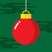 Vector illustration of a red christmas ornament against a dark green background in flat style.