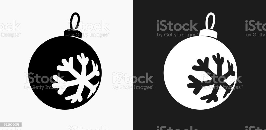 Christmas Ornament Icon on Black and White Vector Backgrounds vector art illustration