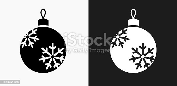 istock Christmas Ornament Icon on Black and White Vector Backgrounds 696665780