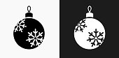 Christmas Ornament Icon on Black and White Vector Backgrounds
