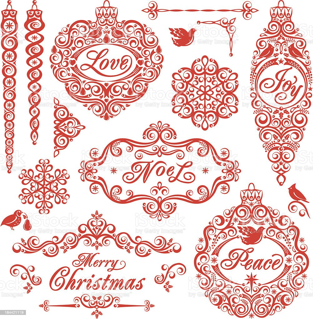 Christmas Ornament Set royalty-free stock vector art